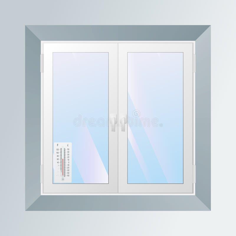 Alcoholthermometer buiten het venster stock illustratie