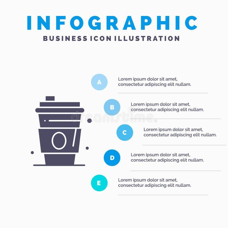 Alcool, boisson, jus, fond solide de présentation d'étapes d'Infographics 5 d'icône des Etats-Unis illustration de vecteur