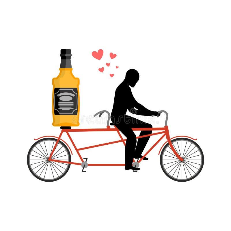 Alcool della bevanda dell'amante Bottiglia di whiskey sulla bici L'uomo rotola il brandy royalty illustrazione gratis