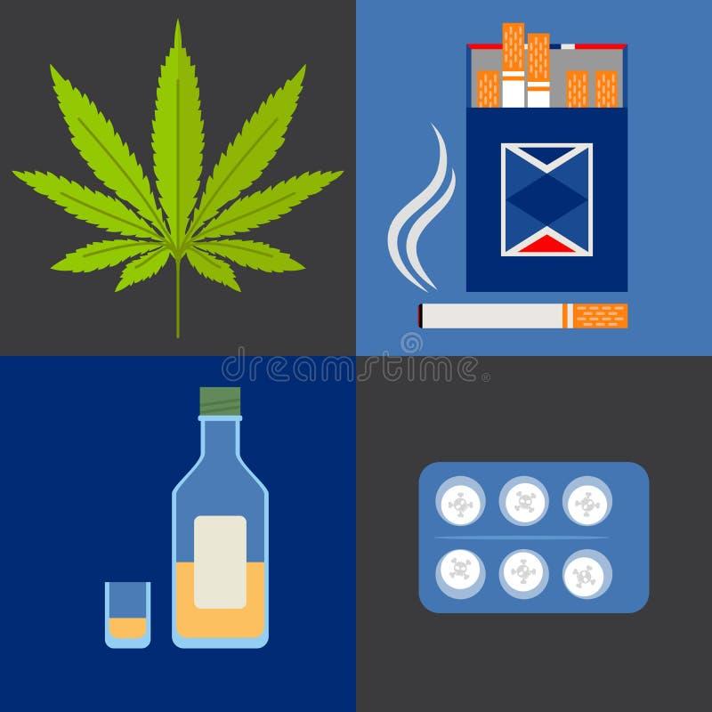 Alcool, drogues et icônes de tabac réglées illustration stock