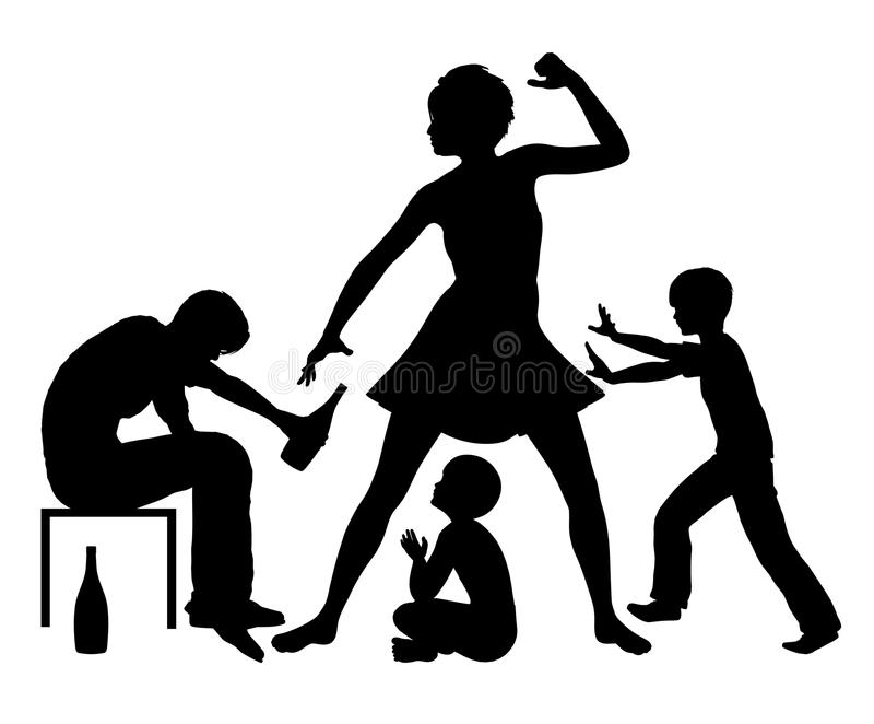 Alcool et violence familiale illustration libre de droits