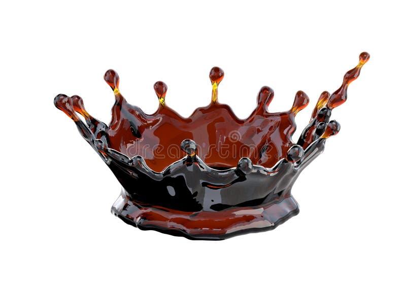 Alcool, kola, thé, couronne liquide de café, décorative illustration 3D illustration libre de droits