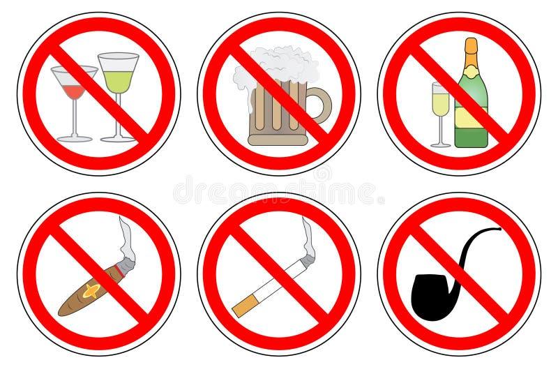 Alcool non fumatori e bevente, insieme del segno di proibizione, vettore illustrazione di stock