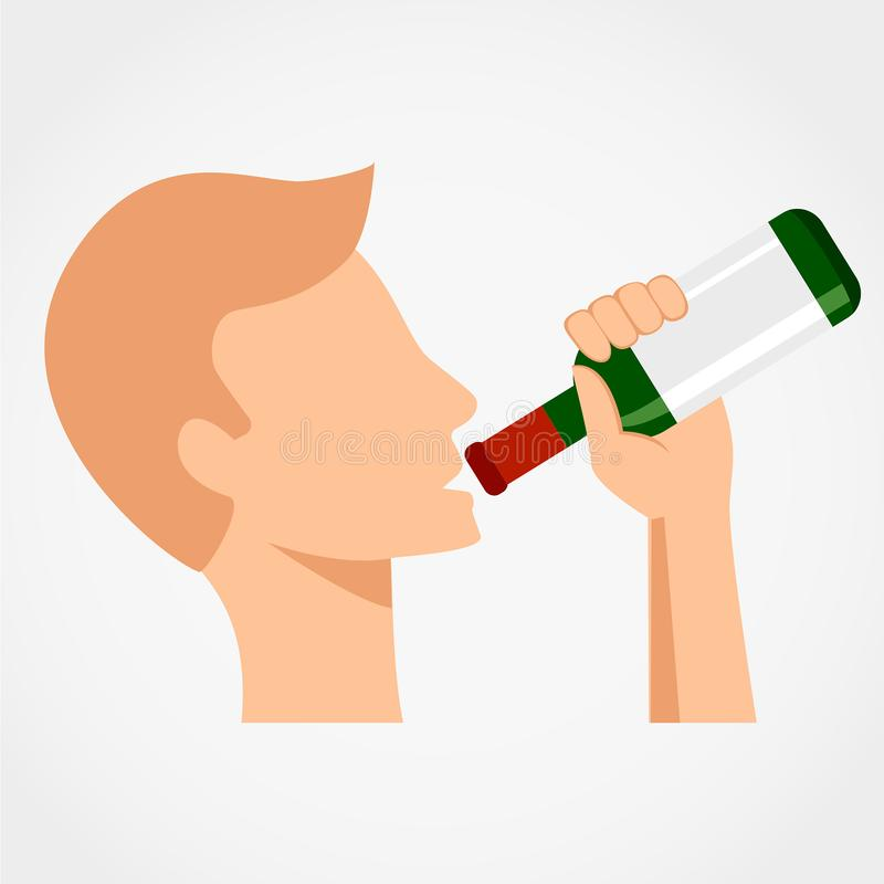 Alcool potable d'homme de la bouteille illustration libre de droits