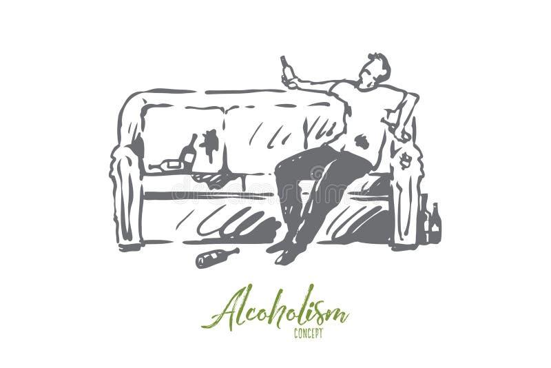 Alcoolisme, homme, ivre, bouteille, concept de sofa Vecteur d'isolement tir? par la main illustration libre de droits