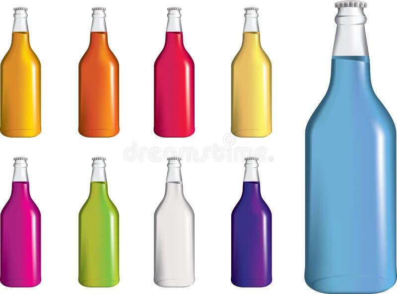 alcopop装瓶drinnk泡沫腾涌的集碳酸钠 库存例证