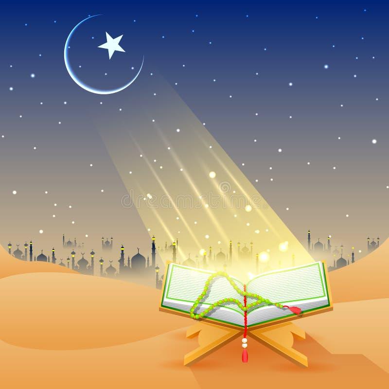 Alcorão no fundo feliz de Eid ilustração royalty free