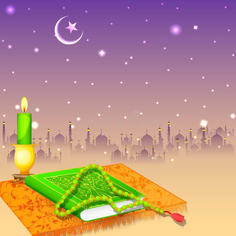 Alcorão no fundo feliz de Eid ilustração do vetor