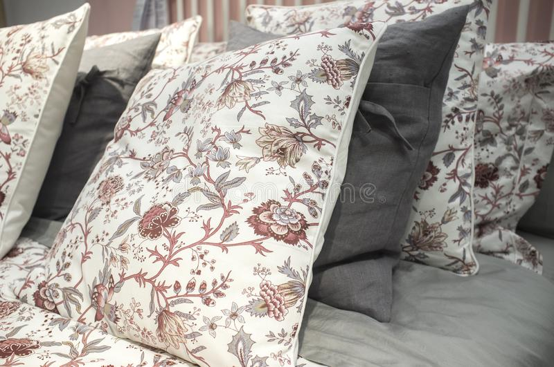 Bed cushions at Open-shelf Market Hall at Ikea shop. Alcorcon, Spain - Jul 14th 2019: Bed cushions at Open-shelf Market Hall at Ikea shop stock image