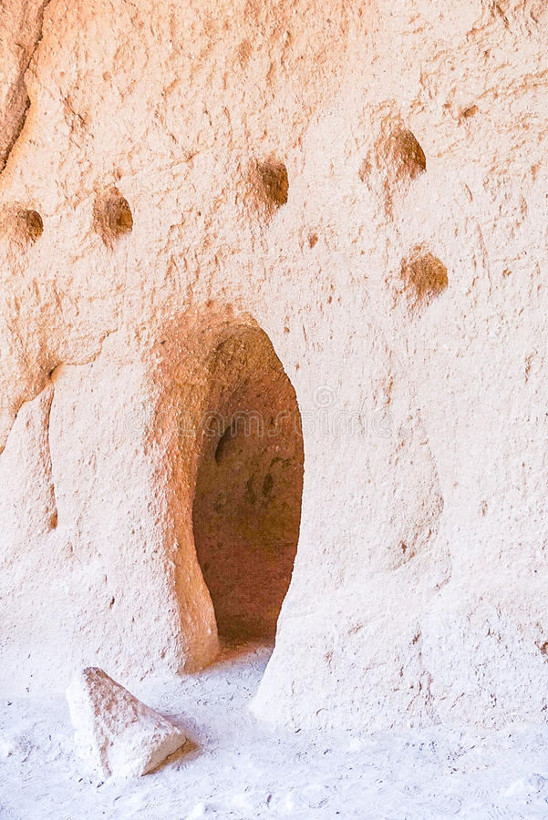 The Alcove House in Bandelier National Monument Park in Los Alamos, New Mexico. The cave dwelling at the Alcove House at Bandelier National Monument in Los stock photo