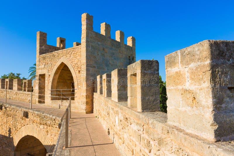 Alcudia老镇堡垒墙壁在马略卡马略卡 库存图片
