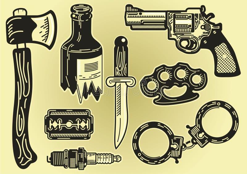 Alcuni elementi di delinquenza e del furto illustrazione di stock