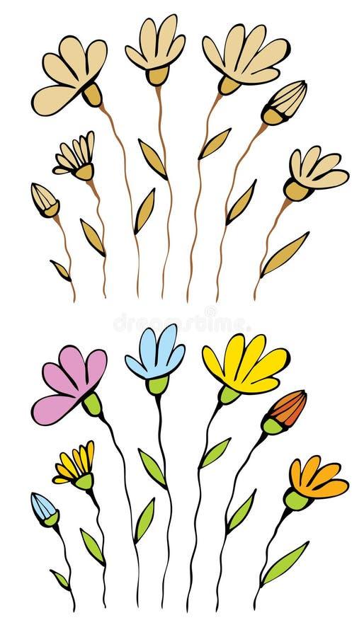 Alcuni fiori su un bianco immagine stock