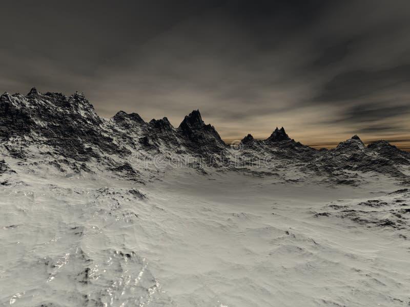 Alcuni nevicano rocce taglienti sulla montagna royalty illustrazione gratis