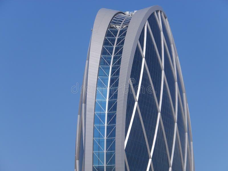 Aldar在阿布扎比,阿拉伯联合酋长国总部设大厦 免版税图库摄影