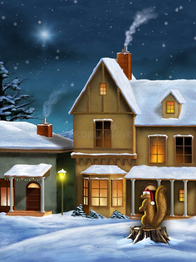 Aldea de la Navidad ilustración del vector