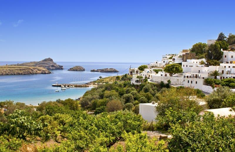 Aldea de Lindos en la isla de Rodas, Grecia foto de archivo