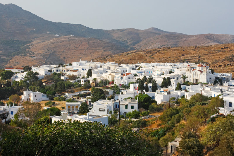 Aldea de Pirgos, isla de Tinos foto de archivo