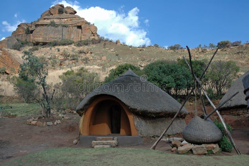 Aldea del Basotho. imagen de archivo libre de regalías