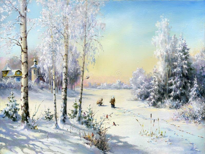 Aldea del invierno ilustración del vector