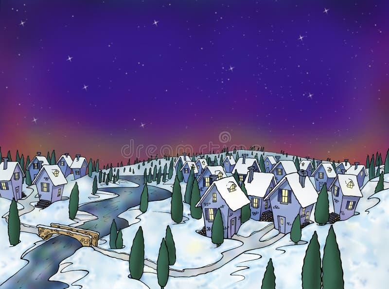 Aldea del invierno imagen de archivo