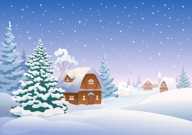 Aldea del invierno stock de ilustración