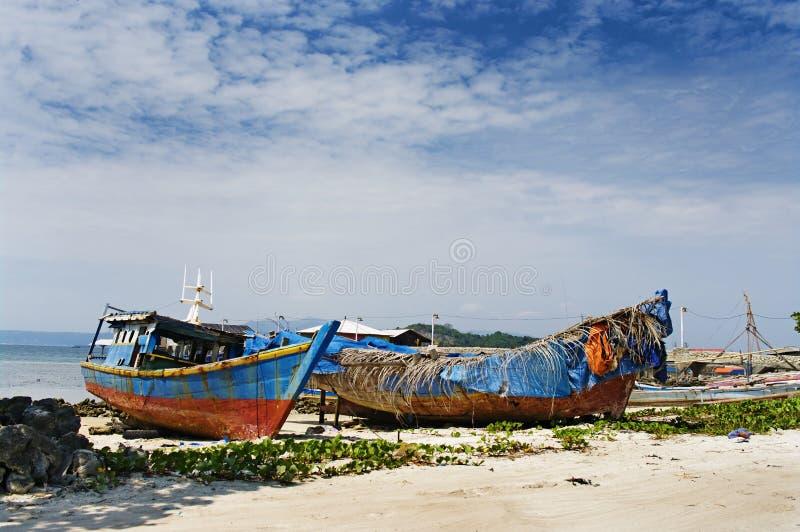 Aldea del pescador en Bandar Lampung, Indonesia fotos de archivo