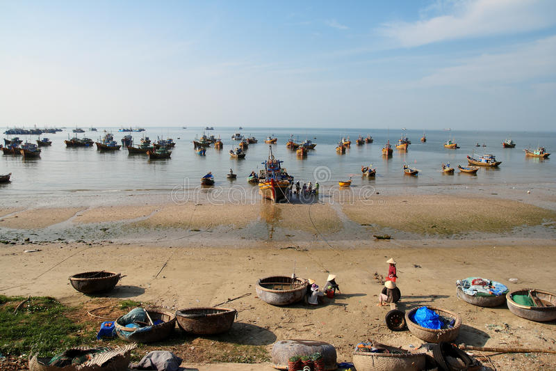 Aldea del pescador, Ne de Mui, Vietnam fotografía de archivo