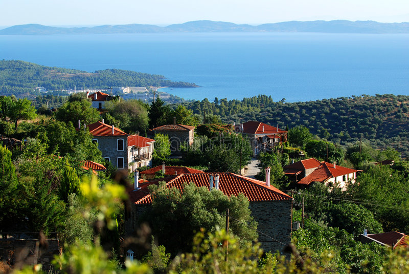 Aldea en Grecia fotografía de archivo
