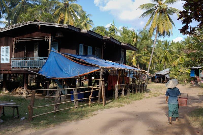 Aldea en las islas de Mekong foto de archivo libre de regalías