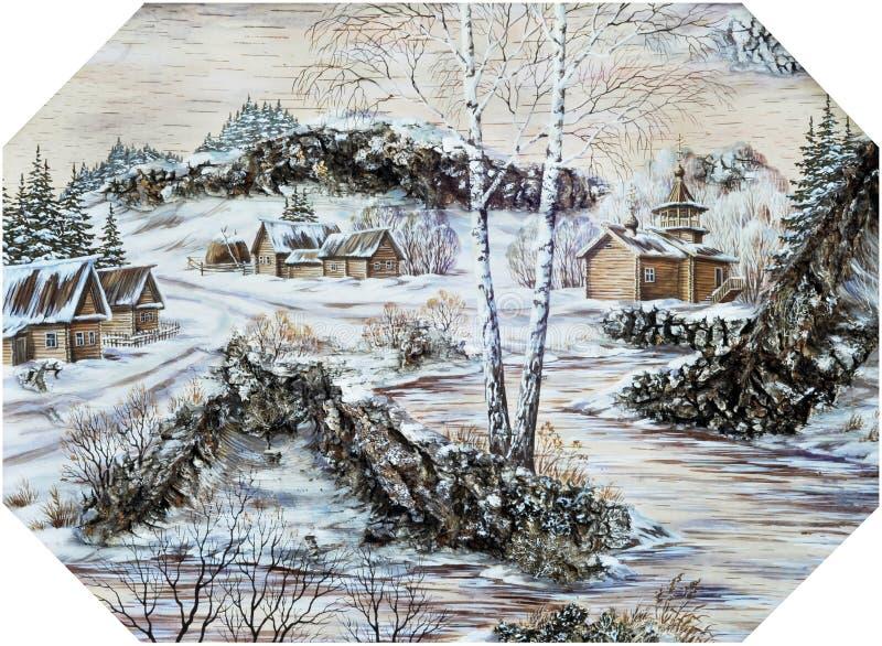 Aldea rusa con un templo ilustración del vector