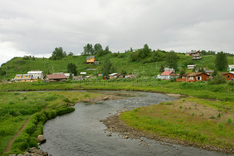 Aldea rusa de Ninilchik imagenes de archivo