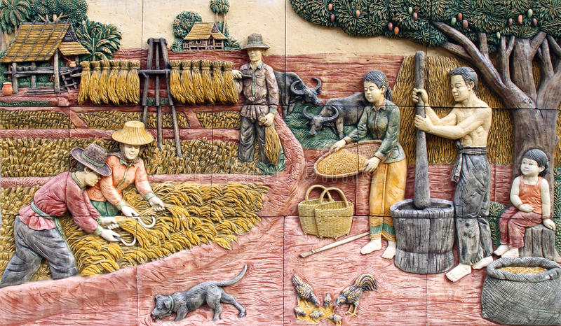 Aldea tailandesa del granjero, arte en la pared fotografía de archivo