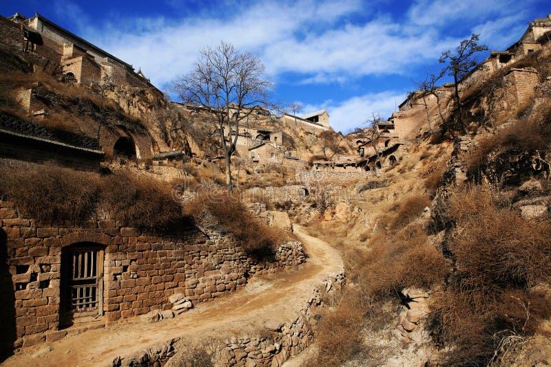 Aldea vieja de la montaña de loess foto de archivo libre de regalías
