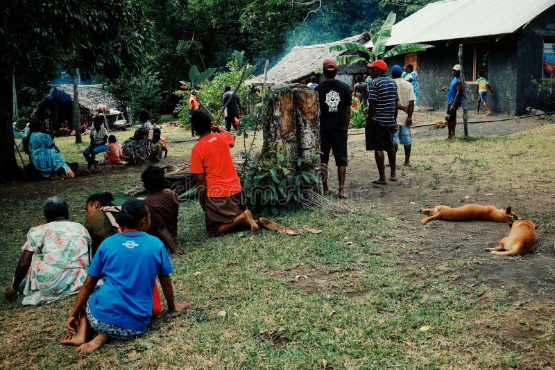 aldeanos locales que se preparan para una celebración de la circuncisión en la plaza principal con los perros fotografía de archivo libre de regalías