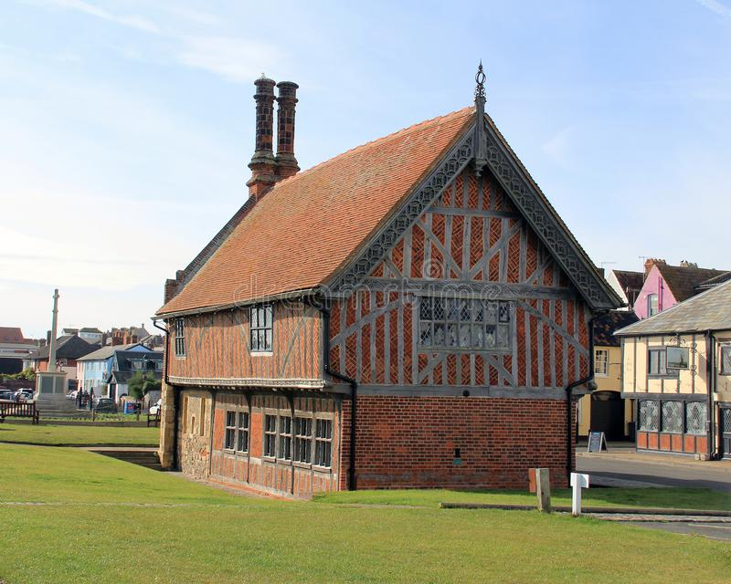 Moot Hall Aldeburgh. The Aldeburgh Moot Hall is a Grade I listed timber-framed building which has been used for council meetings for over 400 years. The Town stock photo
