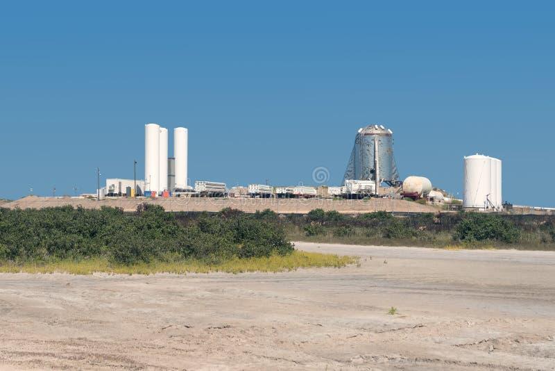 Aldeia Boca Chica, Texas / Estados Unidos - 16 de agosto de 2019: Uma visão do protótipo da nave estelar do SpaceX fotografia de stock royalty free