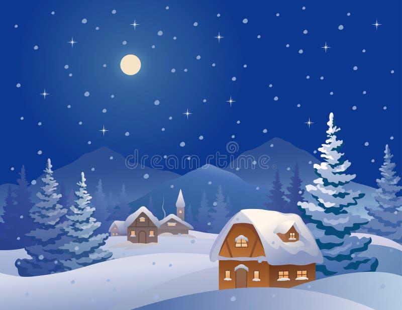 Aldeia da montanha do inverno ilustração do vetor