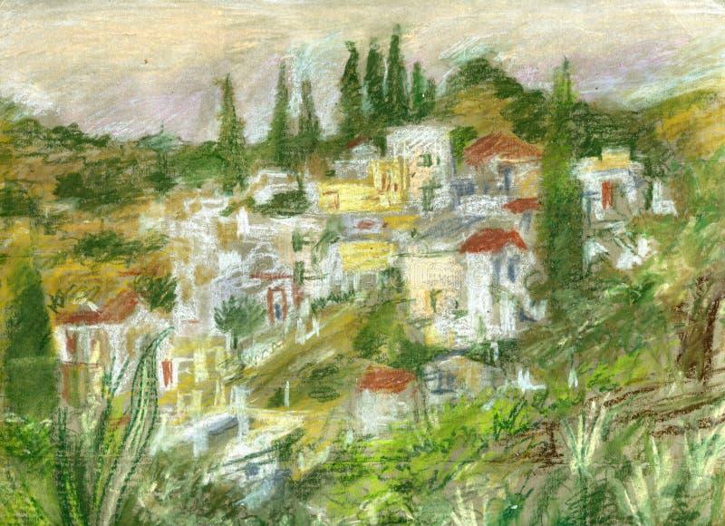 Aldeia da montanha grega ilustração do vetor