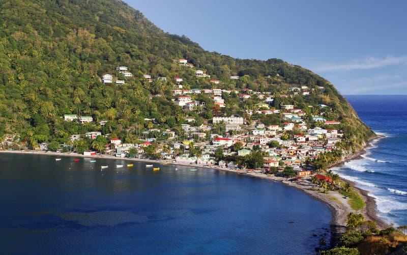 Aldeia piscatória da cabeça de Scotts em Domínica, ilhas das Caraíbas fotos de stock royalty free