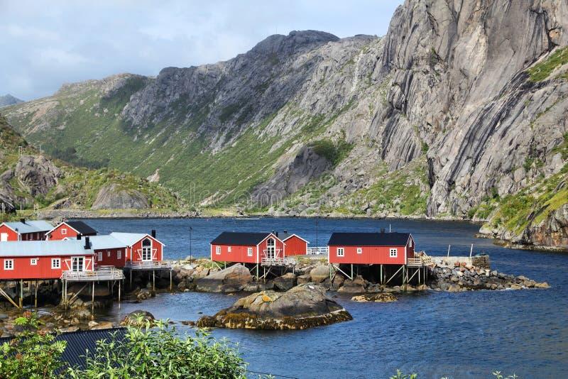 Aldeia piscatória de Noruega fotos de stock