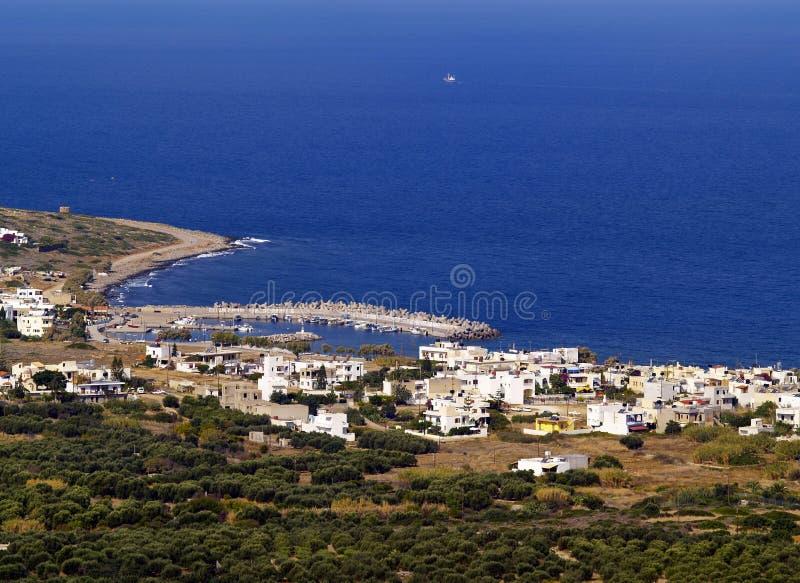 Aldeia piscatória do Cretan imagem de stock