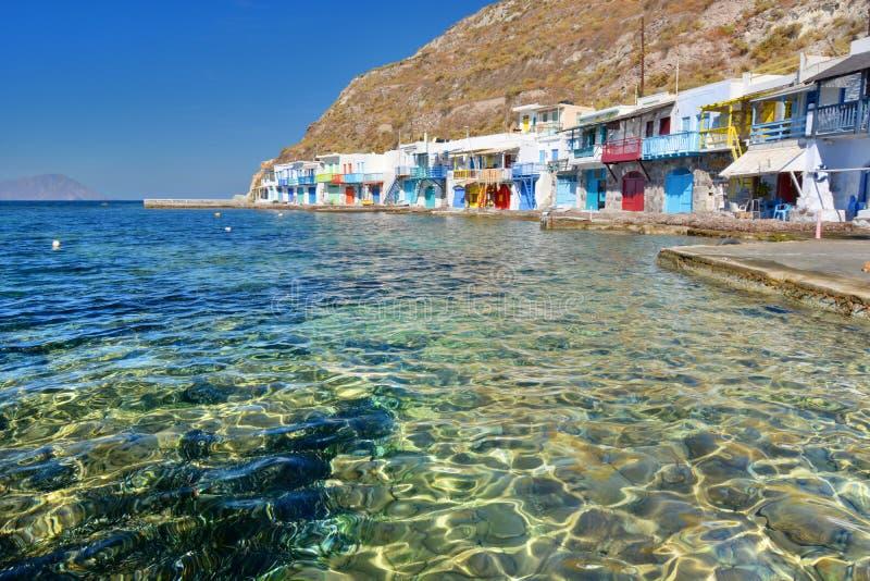 Aldeia piscatória tradicional Klima, Milos Ilhas de Cyclades Greece fotografia de stock