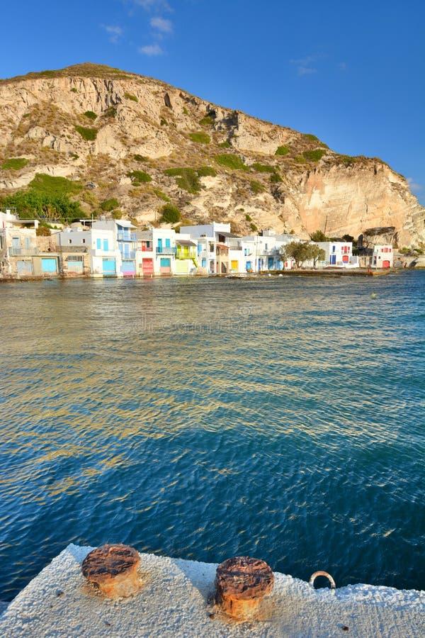 Aldeia piscatória tradicional Klima, Milos Ilhas de Cyclades Greece fotos de stock royalty free