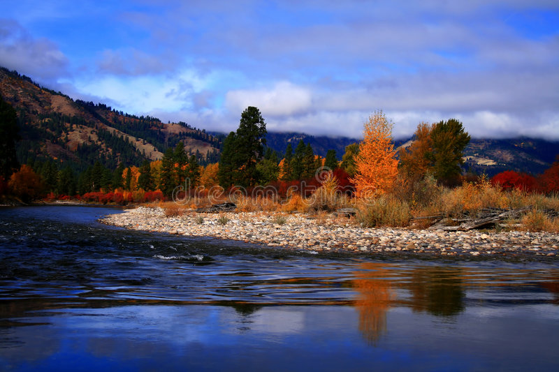 Alder Creek Autumn View 2. View of south fork of the Payette River from Alder Creek bridge, Idaho stock photography