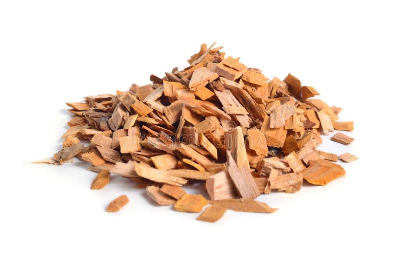 Alder wood chips isolated on white background royalty free stock image
