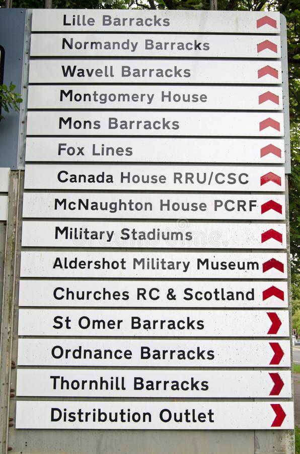 Aldershot Military town signposts royalty free stock photography