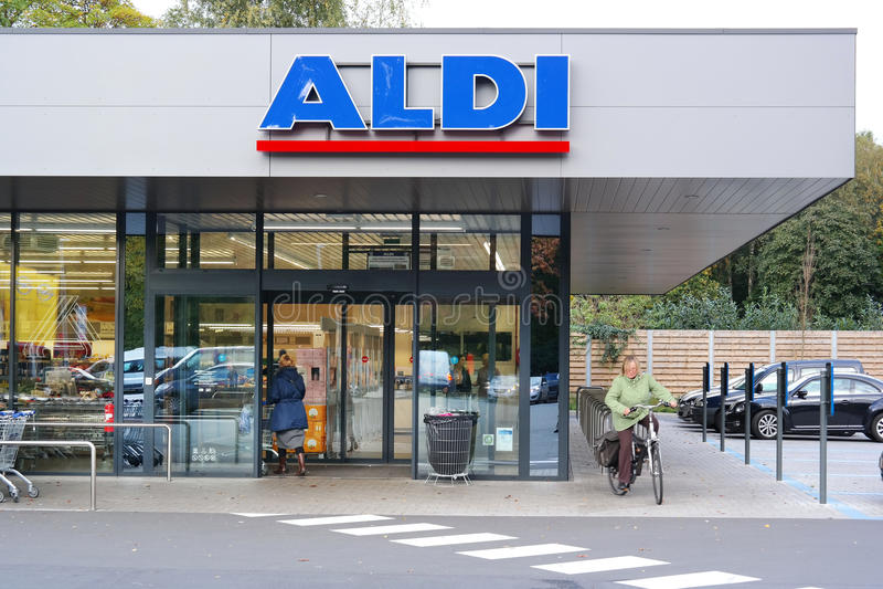 Aldi Discount Supermarket. KAPELLEN, BELGIUM - OCTOBER 2015: Branch of a ALDI supermarket. Aldi is a leading global discount supermarket chain Based in Germany royalty free stock image