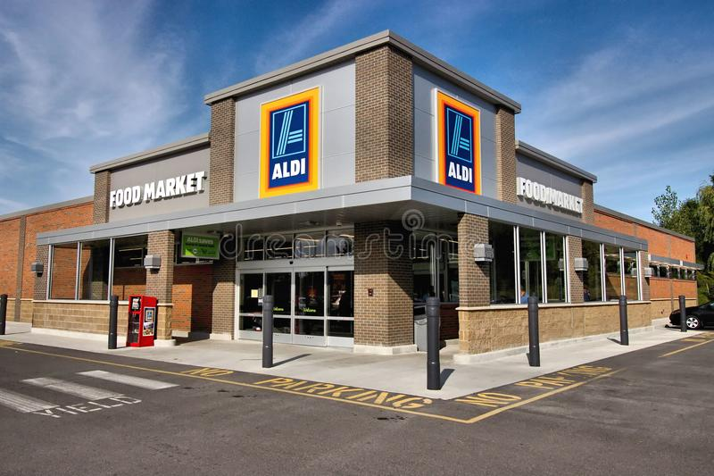 ALDI. The German based retail supermarket ALDI. Albrecht Diskont royalty free stock photo
