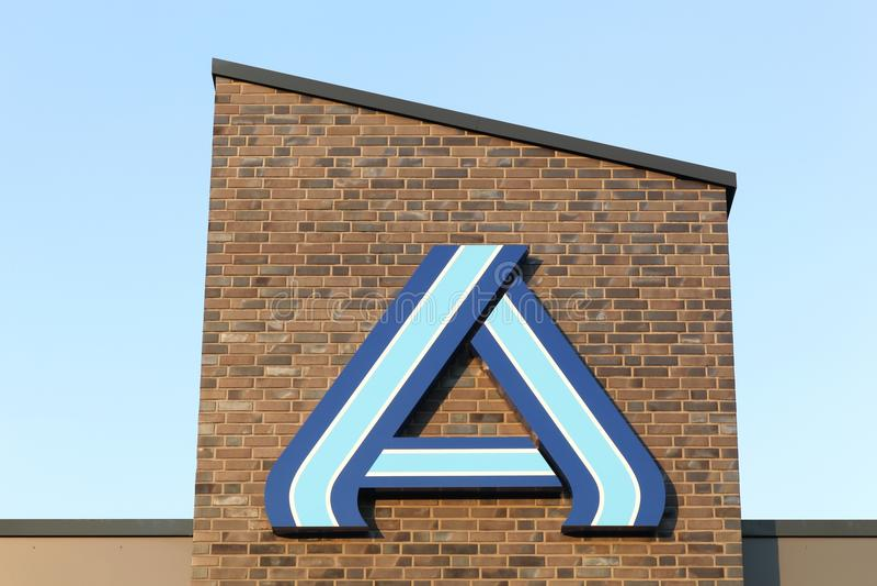 Aldi logo on a wall stock image